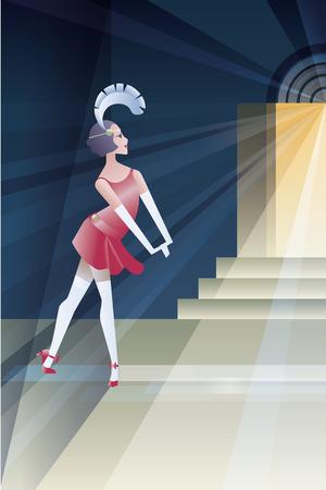 flappers: Fondo de estilo años veinte diseño geométrico abstracto con aletas chica stanging noche cerca de la entrada del club