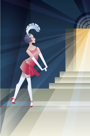 twenties: Twenties style background abstract geometric design with flappers girl stanging  night close to club entry Illustration