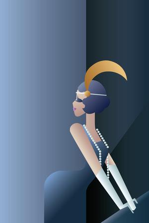 artnouveau: Elegant Twenties style background geometric design with flappers gir
