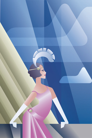 artdeco: Twenties style background geometric design with flappers girl standing looking at cloud sky at day
