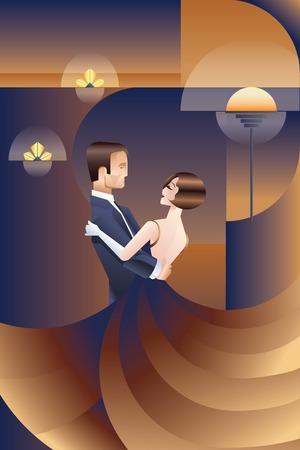 coppia romantica: Vintage Design cartello Art Deco con coppia di ballo Vettoriali