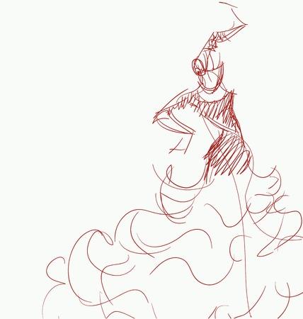 flamenca bailarina: Stilized en silueta esbozo de bailarina de flamenco espa�ol