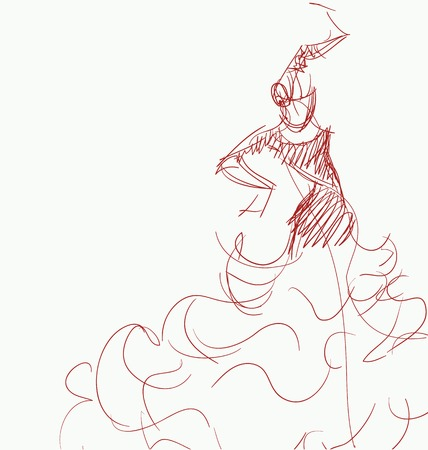 Stilized in sketch silhouette of spanish flamenco dancer