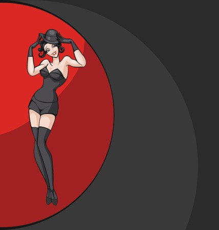 standing woman from cabaret, burlesque posing in costume. pin-up style Illustration