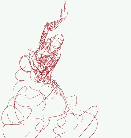 Stilized en silueta esbozo de bailarina de flamenco español