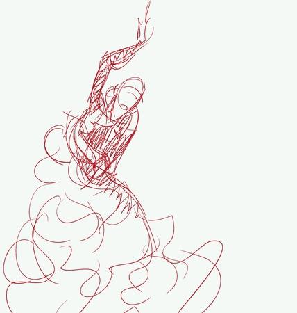 bailando flamenco: Stilized en silueta esbozo de bailarina de flamenco español