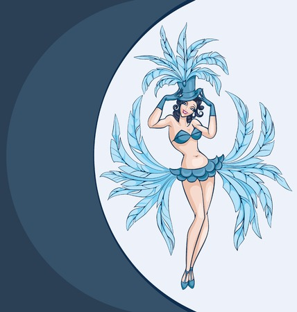burlesque: standing woman from cabaret, burlesque posing in costume. pin-up style Illustration