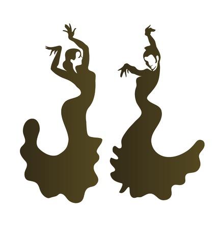 Stilized silhouette of a spanish flamenco dancer
