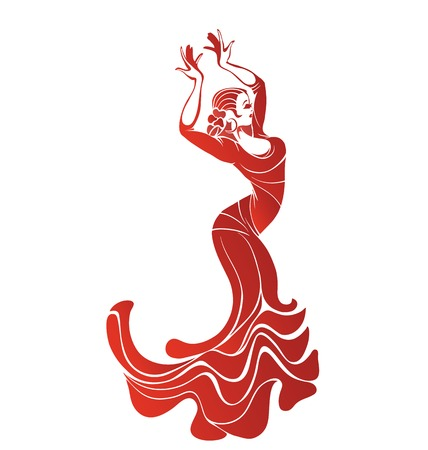 Stilized silhouette of spanish flamenco dancer women Stock Illustratie