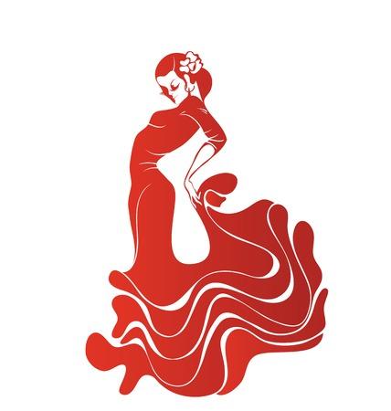 bailando flamenco: Silueta stilized de Mujeres del bailar�n espa�ol de flamenco