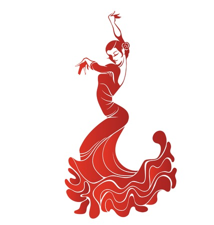 Stilized silhouette of spanish flamenco dancer women