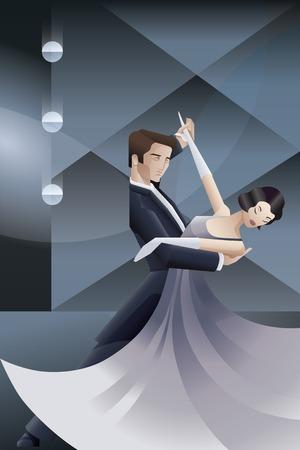 flappers: Diseño de cartel del art déco de la vendimia con la pareja de baile Vectores