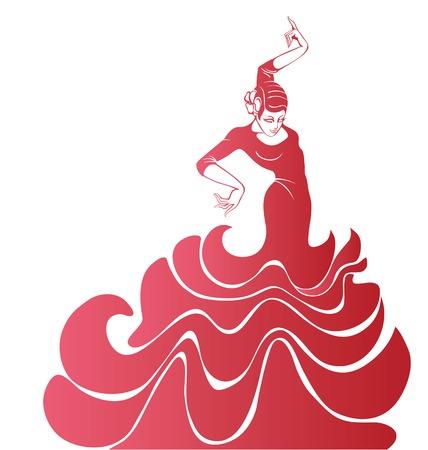 스페인어 플라멩코 댄서 여성의 Stilized 실루엣 일러스트