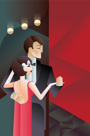 flappers: Dise�o de cartel del art d�co de la vendimia con la pareja de baile Vectores