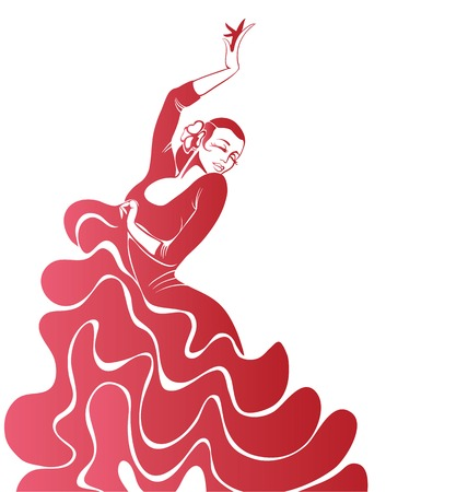 Stilized silhouette of spanish flamenco dancer women  イラスト・ベクター素材