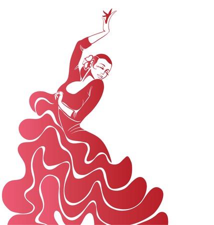 Stilized silhouet van Spaanse flamenco danseres vrouwen