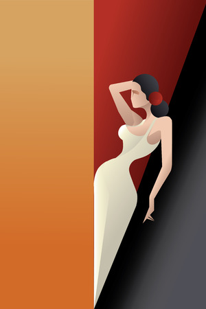 laconic: Young woman flamenco passion artist in expressive pose. stylized Art Deco