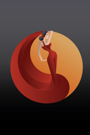bailando flamenco: Joven artista flamenco apasionado en pose expresivo. estilizado Vectores