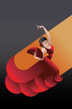expressive: Young woman flamenco passionate artist in expressive pose. stylized