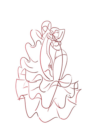performer: Gesture drawing young female flamenco performer in expressive pose line work Illustration