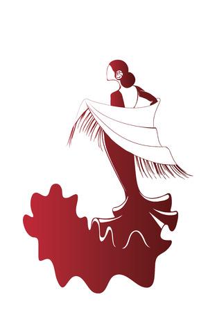 kifejező: Sziluett fiatal női flamenco előadóművésznek kifejező póz