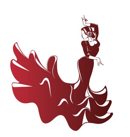 Silhouet jonge vrouwelijke flamenco performer in expressieve pose