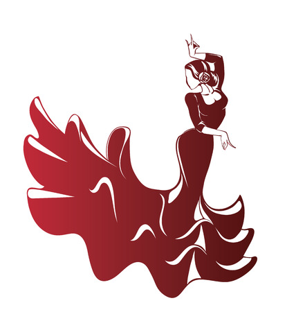 bailando flamenco: Silueta de joven int�rprete de flamenco femenino en actitud expresiva