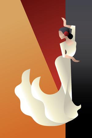 danseuse flamenco: Jeune artiste de la passion femme de flamenco dans pose expressive. stylisée Art Déco Illustration