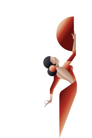 t�nzerinnen: Junge Frau, Flamenco-Leidenschaft K�nstler in ausdrucksstarke Pose. stilisiert