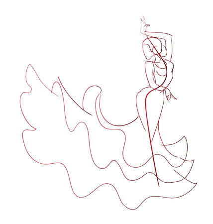 Gesture drawing young female flamenco performer in expressive pose line work  イラスト・ベクター素材