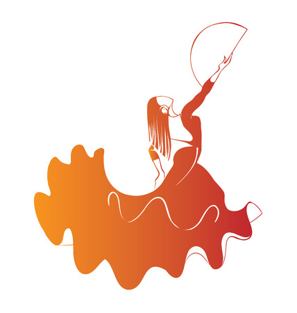 Silhouette young female flamenco performer in expressive pose Stock Illustratie