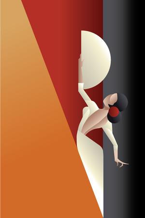 bailando flamenco: Mujer joven artista flamenco pasión en pose expresivo. estilizada Art Deco Vectores