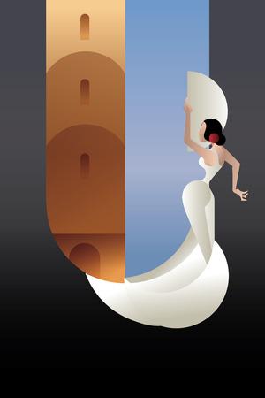 страсть: дизайн фона с молодой женщиной фламенко страсти художника в выразительной позе на городской пейзаж