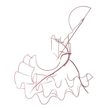 kifejező: Gesztus rajz fiatal női flamenco előadóművésznek kifejező póz line munkát