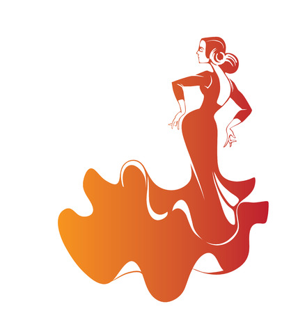 performer: Silhouette young female flamenco performer in expressive pose Illustration