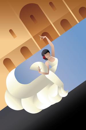 kifejező: háttér kialakítása a fiatal nő flamenco szenvedélye művész kifejező jelent a városi táj