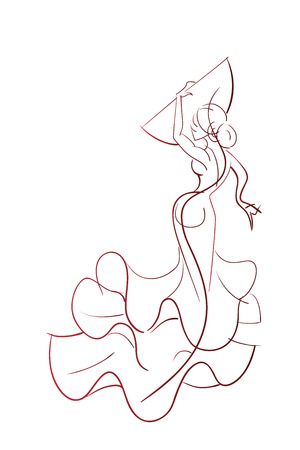 linework: Gesture drawing young female flamenco performer in expressive pose line work Illustration