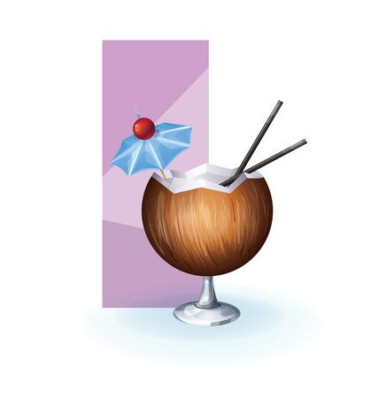 bocal: affettato e decorato come un bicchiere di succo di frutta o un cocktail tropicale frutta esotica. realistico, isolato su bianco Vettoriali