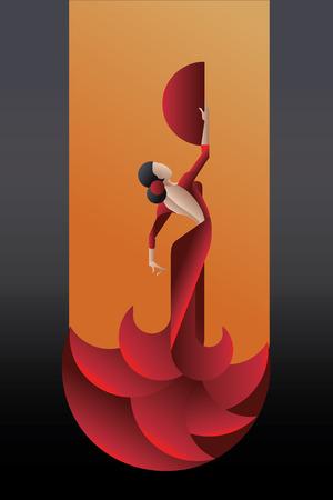 Jonge vrouw flamenco gepassioneerde kunstenaar in expressieve vormen. gestileerde