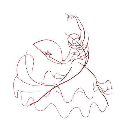 bailando flamenco: Elaboraci�n joven int�rprete de flamenco de la mujer en trabajo de l�nea pose expresivo gesto