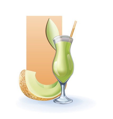 bocal: bocal of juice, cocktail, smoothie . tropical exotic fruit decorated by slice. realistic, isolated on white Illustration