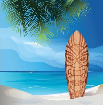 background design with Tiki warrior mask design surfboard on ocean beach Illustration