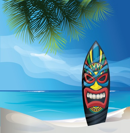 background design with Tiki warrior mask design surfboard on ocean beach Vettoriali