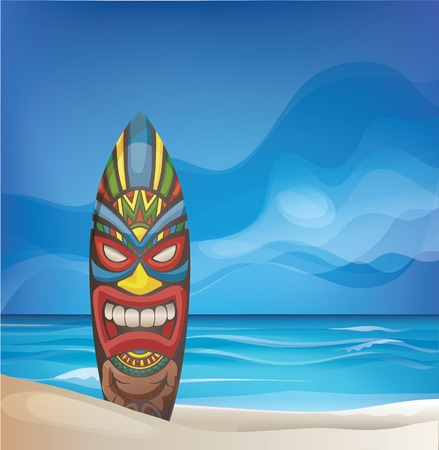 background design with Tiki warrior mask design surfboard on ocean beach 版權商用圖片 - 43132179