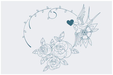 primula: coloring page motif with old school tattoo love theme symbols. postcard proportion