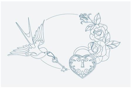 golondrina: Colorear motivo con viejos tatuaje escuela símbolos amor temáticos. proporción postal