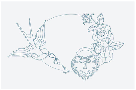 old keys: coloring page motif with old school tattoo love theme symbols. postcard proportion