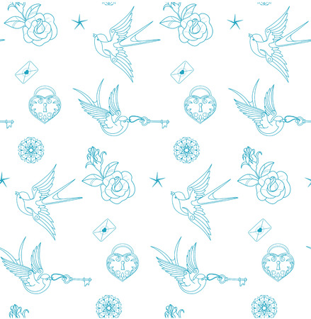 key lock: seamless pattern with old school tattoo rosesand swallow, ink, lines. no font were used