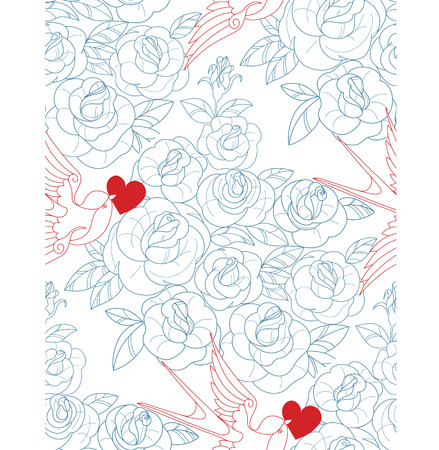 rose tattoo: seamless pattern with old school tattoo rosesand swallow, ink, lines. no font were used