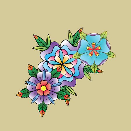 tatouage fleur: concevoir des éléments Old School Tatto. Encre, symboles d'encrage Illustration